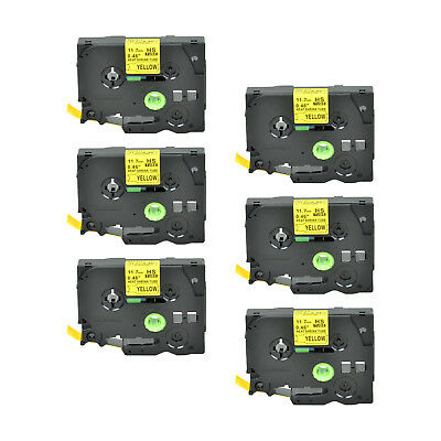 """6PK Heat Shrink Cartridge Label Black on Yellow HSe631 For Brother P-Touch 1/2"""""""