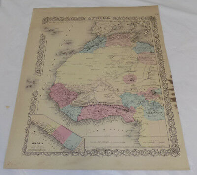 1855 Antique Colton COLOR Map///NORTHWESTERN AFRICA