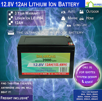 12V 12ah Lithium Ion LiFePo4 Deep Cycle Rechargeable Battery (PICK UP)