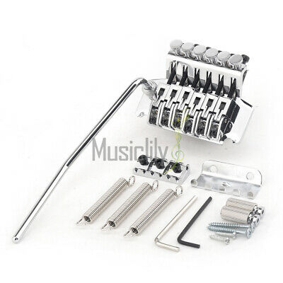 Musiclily Pro Chrome Guitar Standard Locking Tremolo Steel Saddle Bridge Set