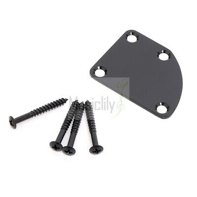 Musiclily Black 4 Holes Curved Neck Plate with Screws For Electric Guitar Bass