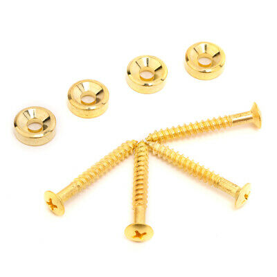 Musiclily 4 Pieces Gold Electric Guitar Bass Neck Mounting Ferrule Screw Bushing