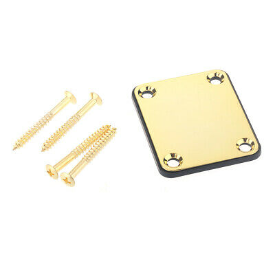 Musiclily Metal Neck Plate With Screw For Fender Style Guitar Bass Parts Gold