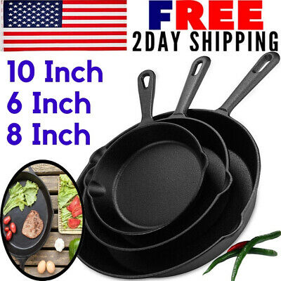 Cast Iron Skillet Cookware Cooking Recipes Set 3 Pre Seasoned Stove Oven Fry Pan