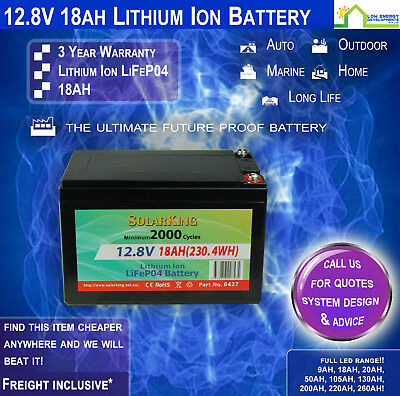 12V 18ah Lithium Ion LiFePo4 Deep Cycle Rechargeable Battery (Pick Up)