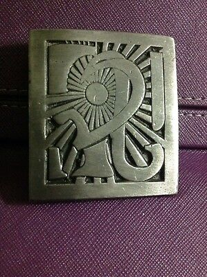 Vintage 70's Indiana Metal Craft Signed Jesse McLeod Belt Buckle