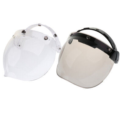 2pcs Bubble 3-Snap Helmet Visor Flip Up Face Shield Lens For Motorcycle Bike
