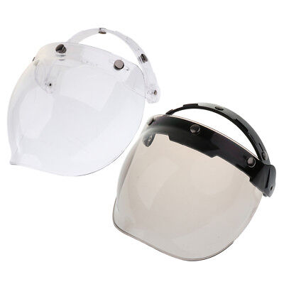 2x 3-Snap Motorcycle Vintage Helmet Bubble Visor Flip Up Open Face Shield