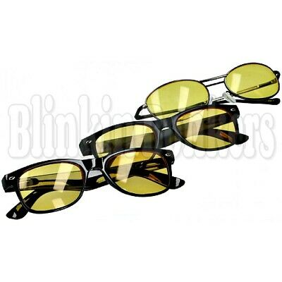 Unisex Tinted Yellow Dark Night Time Vision Anti Glare Driving Glasses & Pouch