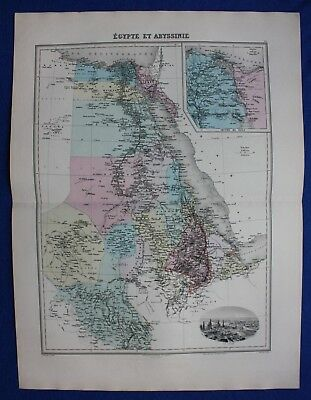 Original antique map EGYPT & ABYSSINIA, ETHIOPIA, SUEZ, CAIRO, Migeon 1891