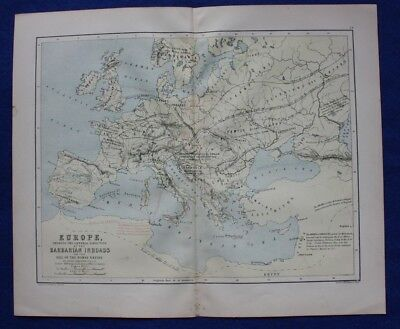 Original antique map EUROPE, BARBARIAN INVASIONS, W & A.K. Johnston c.1864