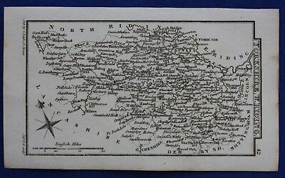Original antique miniature county map WEST RIDING OF YORKSHIRE, Leigh, 1820-31