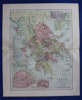 Original antique map ANCIENT GREECE, 'GRAECIA', ATHENS, W & A.K. Johnston c.1864