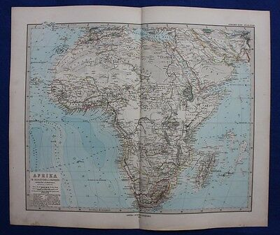 AFRICA, MADAGASCAR, original antique map, Stieler 1880