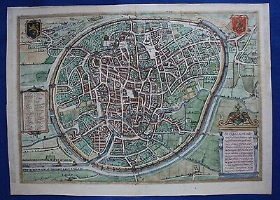 Original antique city map BRUSSELS BRUXELLES BRUXELLA, Braun & Hogenberg, c.1572