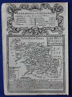Original antique county map, ENGLAND, WEST RIDING OF YORKSHIRE, E. Bowen, c.1724