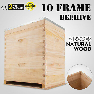 Not Assembled Double Beehive with 20 Assembled Frames and Stainless Excluder