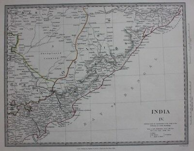 Original antique map INDIA, HYDERABAD, BAY OF BENGAL, UNEXPLORED,  SDUK, 1832