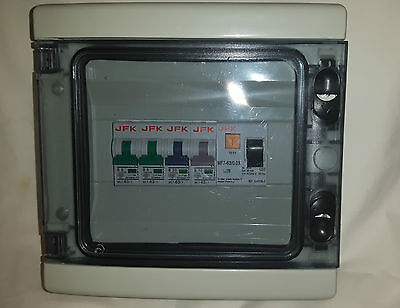 Caravan Boat  Consumer Unit IP65 Rated 4 way with 63amp 30ma rcd plus 4 mcb,s