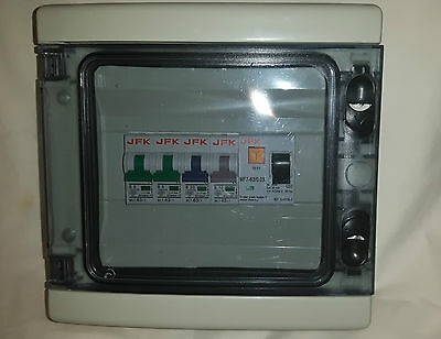 garage consumer unit IP65 weather proof 4 way with 63amp 30ma rcd plus 4 mcb,s