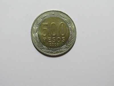 Old Chile Coin - 2008 500 Pesos - Circulated, rim ding