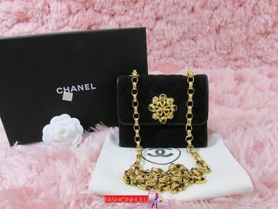 e716b8976dbf RARE CHANEL VINTAGE Quilted Gripoix Jeweled Mini Black Suede Flap ...
