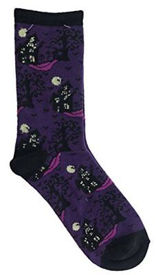 MeMoi Halloween Themed Haunted House in the Night Purple Novelty Crew Sock