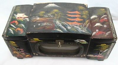 Antique / Vintage Japanese Lacquer & Mother of Pearl Musical Jewellery Box
