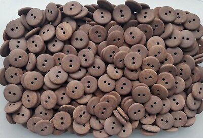 18mm 28L Light Brown Wooden Wood Effect Natural Craft 2 Hole Buttons (W708)