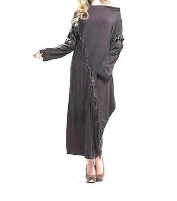 Tusso Dark Brown Lace-Up And Faux Leather Embellishment Long Dress