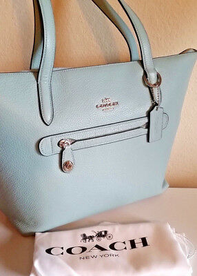 f332ba9a830 Coach Taylor Tote Bag 38312 Pebbled Leather POPULAR LIGHT TURQUOISE  275 NEW