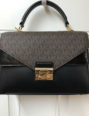624c440ffc3878 Michael Kors Sloan Medium Double Flap Top Handle Satchel Brown/Black NWT