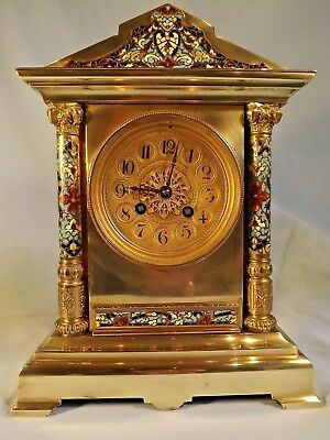 """19c French Brass & Cloisonne Clock By """"S. Marti""""."""