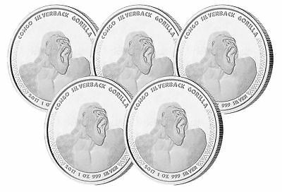 Lot of 5 - 2017 $1 1oz Silver Congo Silverback Gorilla