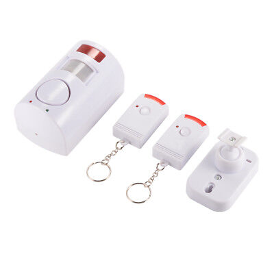 PIR Motion Detector Infrared Alarm+2pcs Remote Controller Anti-theft White AH435