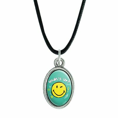 GRAPHICS /& MORE Mad Angry Cursing Smiley Face with Black Eye Officially Licensed Antiqued Bracelet Pendant Zipper Pull Oval Charm with Lobster Clasp