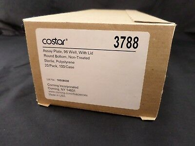 COSTAR 3788 Assay Plate 96 Well w/ Lid Round Bottom Clear Polystyrene 20/Pk