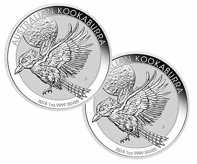 Lot of 2 - 2018 $1 1oz Silver Kookaburra .9999 Fine BU
