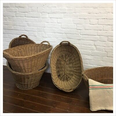 Vintage Antique French Wicker Laundry Log Toy Basket