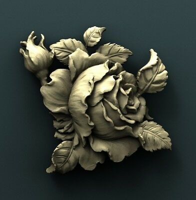 3d STL Model Relief for CNC Router Aspire _ (0295) Rose