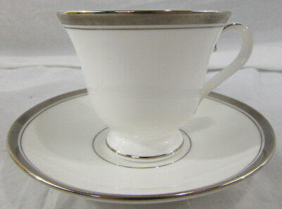 Waterford Fine English China Harcourt Platinum Tea Cup and Saucer Set Mint