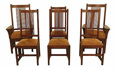 46757EC: Set of 6 STICKLEY Mission Oak High Back Dining Room Chairs