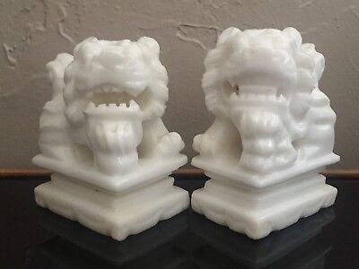 2 Chinese Carved White Marble Stone Foo Dog Lion Dragon Statue Sculpture Figures