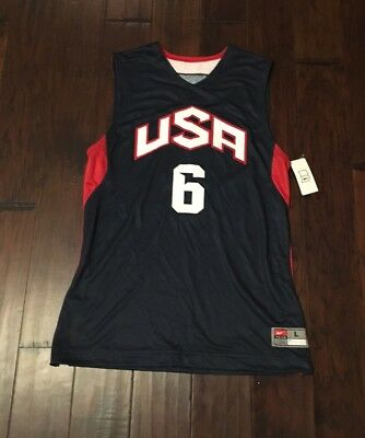 best sneakers 64ef2 ce545 NIKE MEN'S LEBRON James #6 USA Basketball Olympic Jersey Sz. L NEW  509146-419
