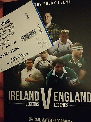 Ireland v England February 2019 legends rugby ticket and programme, Dublin