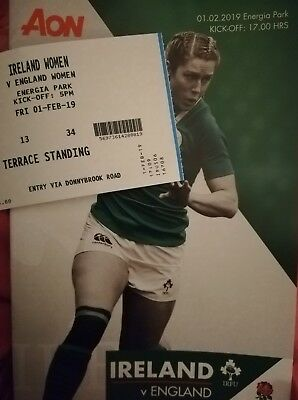 Ireland v England February 2019 women's Six Nations rugby programme & ticket