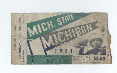 1951 Michigan Football Vs Michigan State Spartans Ticket Stub Ann Arbor Sept 29