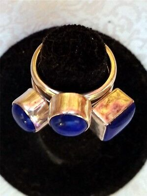3 Lapis Lazuli Rings New Old Stock Sterling Ring Lot Stacker Ring Set Sz 5.5