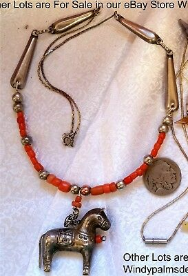 Antique Chinese Horse Sterling Animal Fetish Necklace Coral Trade Beads Necklace