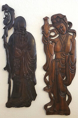 Antique Asian Wood Panel Wall Figure Plaques Wall Hangings Lady & The Sage 2pc